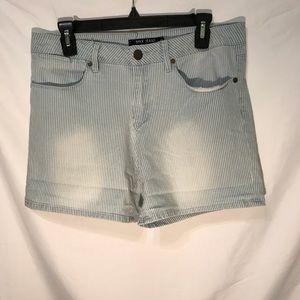 Pinstripe Denim Bermuda Shorts